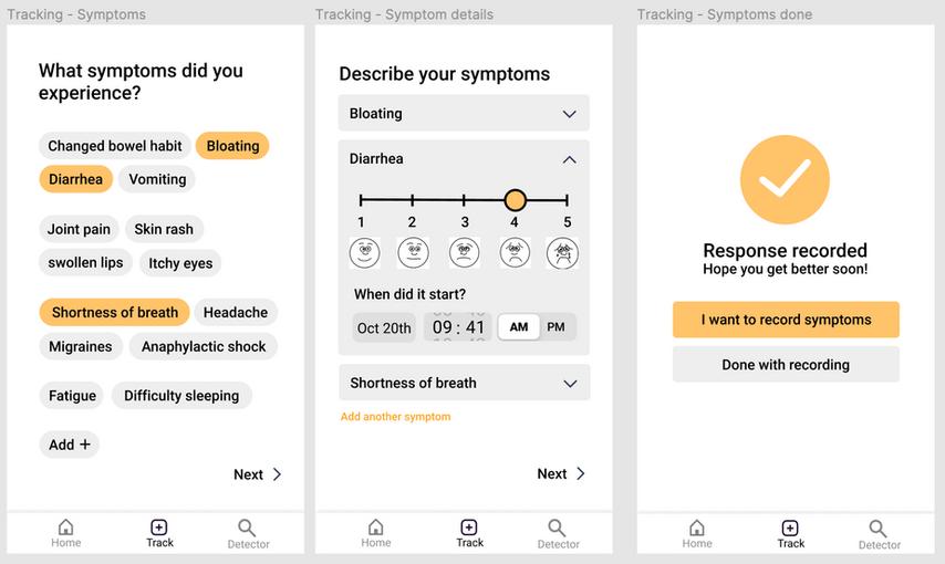 Food tracker - symptoms input
