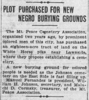 Land for Mount Peace is purchased: Camden Post Telegram newspaper article April 24, 1902