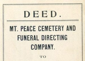 From the archives: Deed of MT. Peace Cemetery