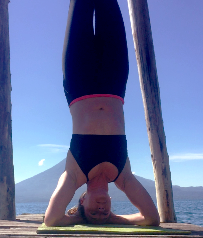 yoga, headstand, meditation, dock, Lake Atitlan, Guatemala, volcano
