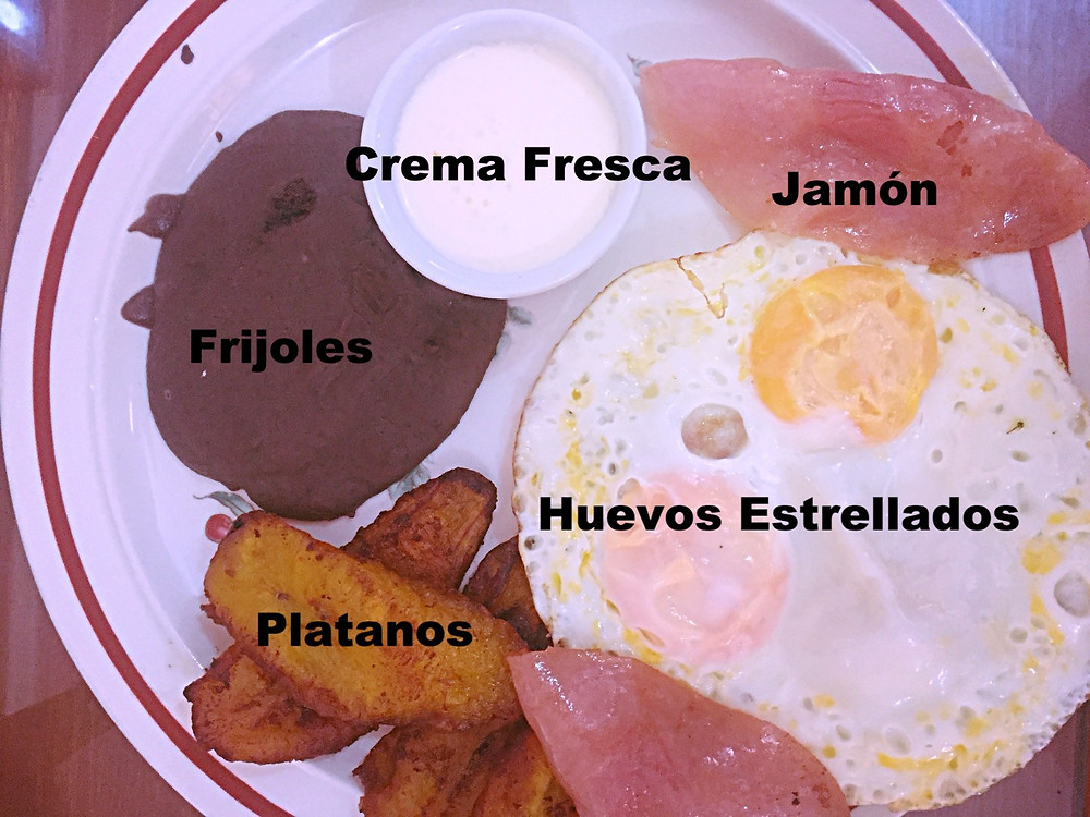 """Típico"" breakfast -  ham, eggs, beans, plantains, cream"