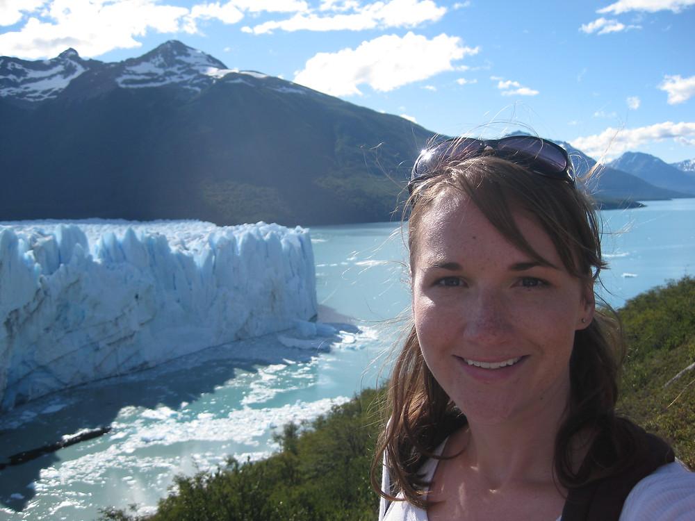 """Perfecting the """"selfie"""" while solo traveling in 2010, Perito Moreno Glacier, Calafate Argentina"""