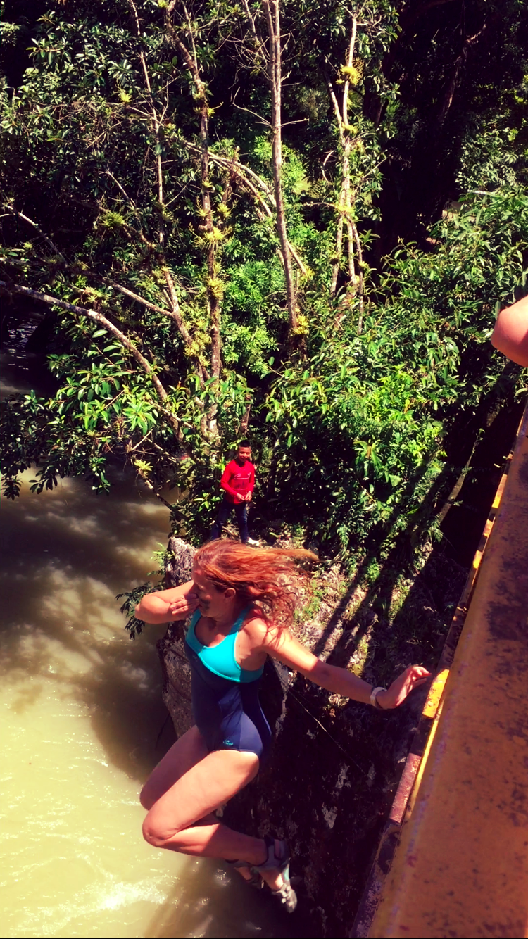 12m bridge jump into the Río Cahabón near Semuc Champey