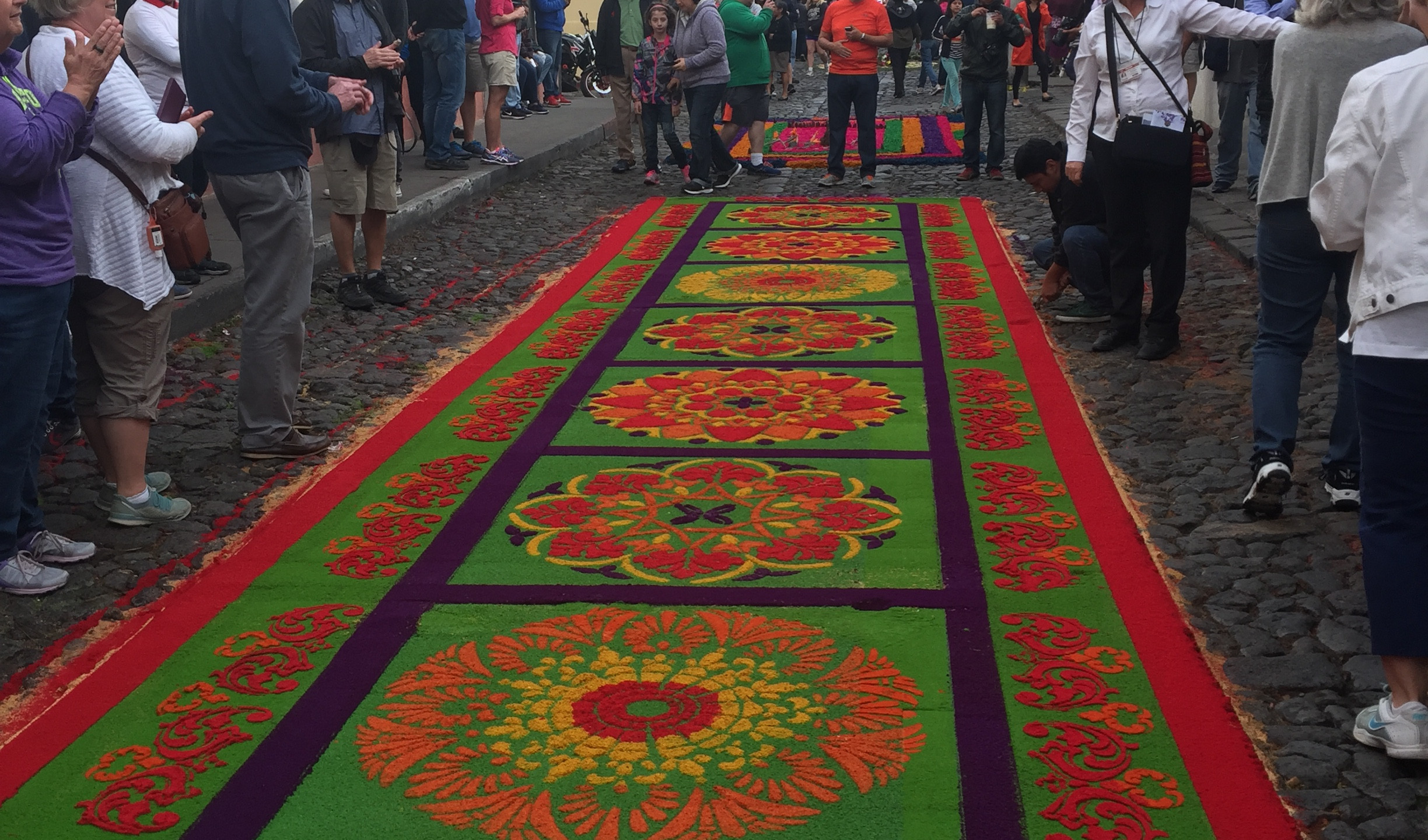 Admirers viewing the alfombras