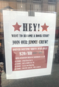 A Jimmy John's sandwich shop in Seattle is offering employment at $20 per hour. Photo courtesy Nick Hanauer
