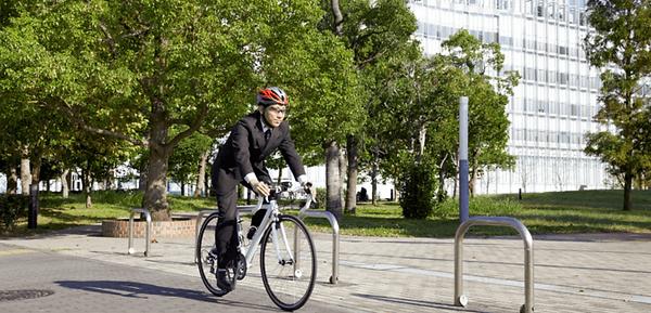 adult man commuting on an electric bike