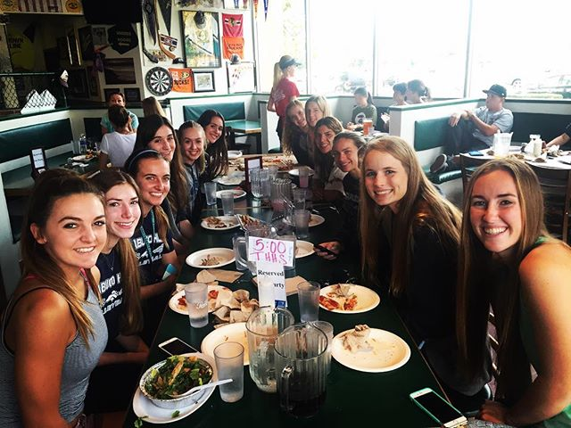 Varsity gets together for a team dinner at BallPark Pizza  before tomorrow's match against CDM
