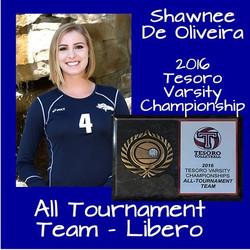 Shawnee De Oliveira is awarded the Tesoro Championship All Tournament Team Libero Award