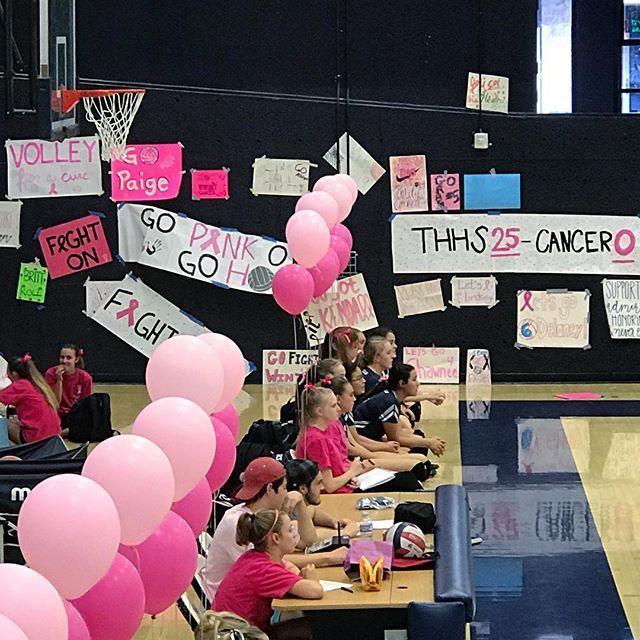 Posters, balloons & lots of pink! 🎀  #fightlikeagirl #thhspinkout