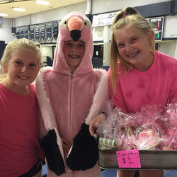 Koko, Alex and Claire raise money for the cure at THHS pink out game