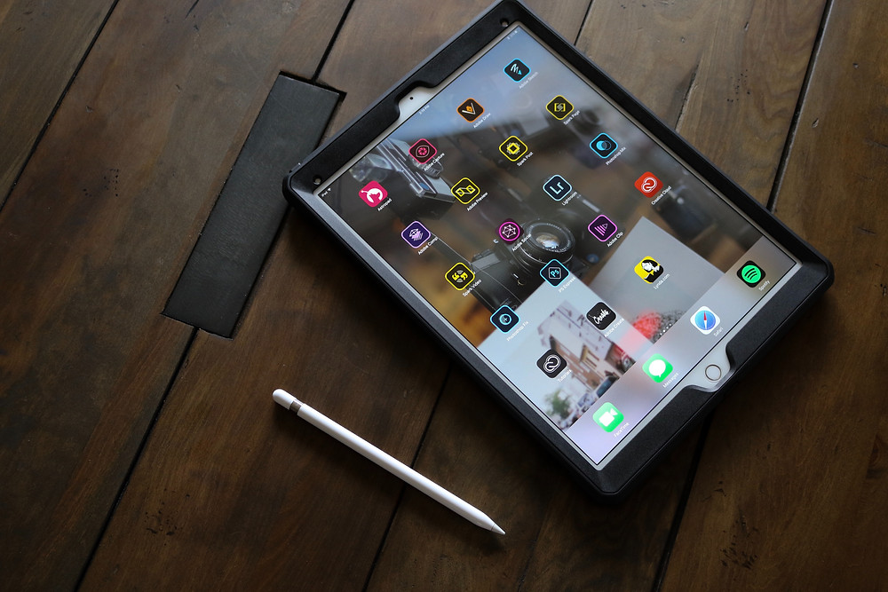 Tablet on a wooden table at primal personal training HQ