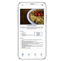 Iphone screen with healthy omelette recipe