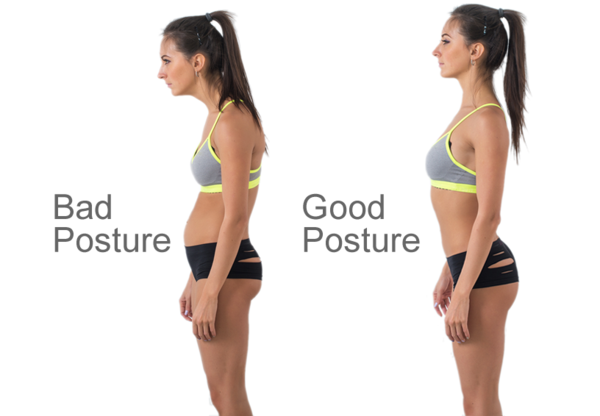 a lady before and after improving her posture