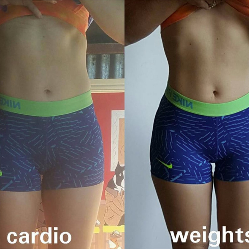 a womans before and after photo after training with weights