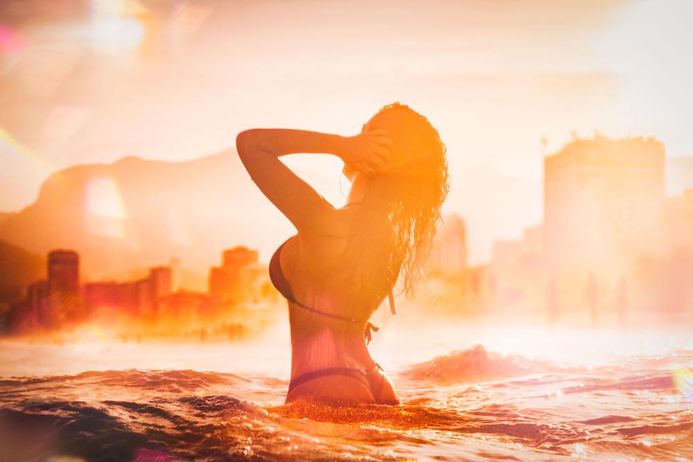Women in bikini on a beautiful beach
