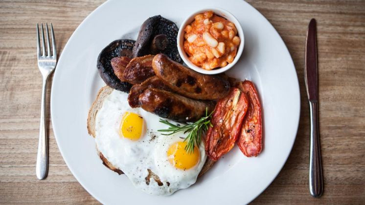 a fry up on a plate