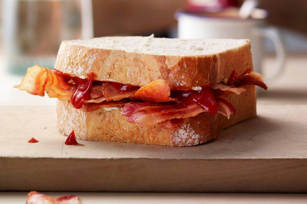a bacon butty on a kitchen table