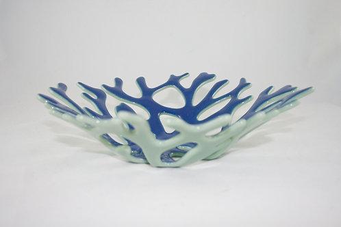 Cobalt blue and light green coral bowl sculpture
