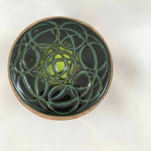 "Round wooden box with ""batik"" style glass top"