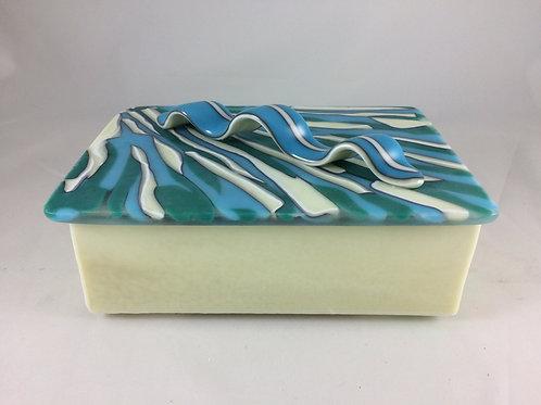 Cream and turquoise treasure box