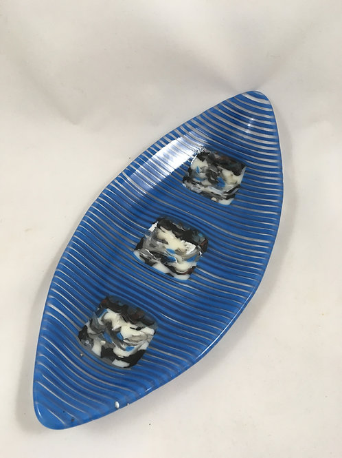 Blue and clear glass dish