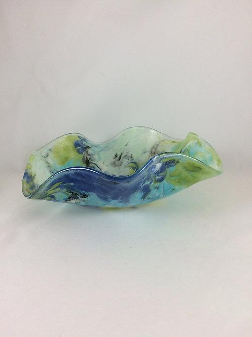Blue, aqua, green watercolors wavy bowl