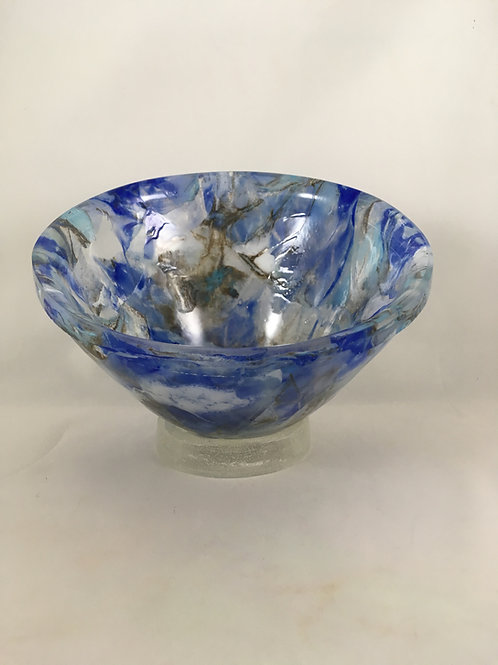Shades of blue glass vessel