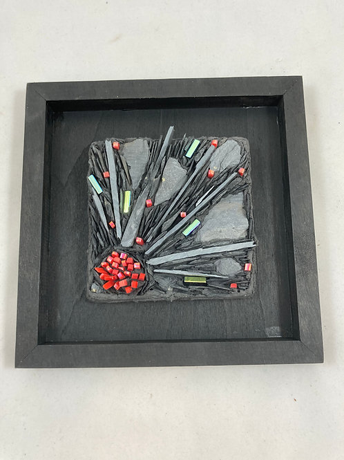 explosion slate and glass mosaic