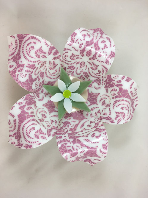 White glass flower screen printed with pink enamel