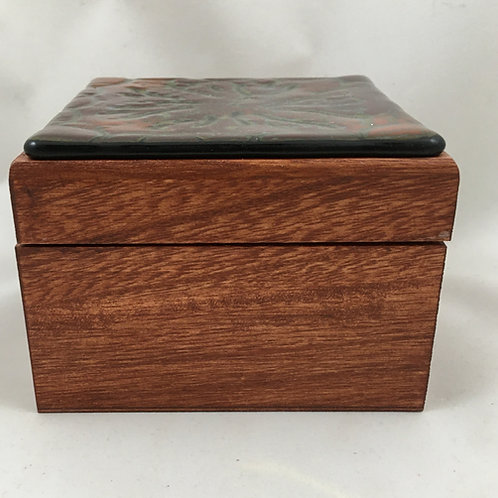 "Square wooden hinged box with ""batik"" style glass top"