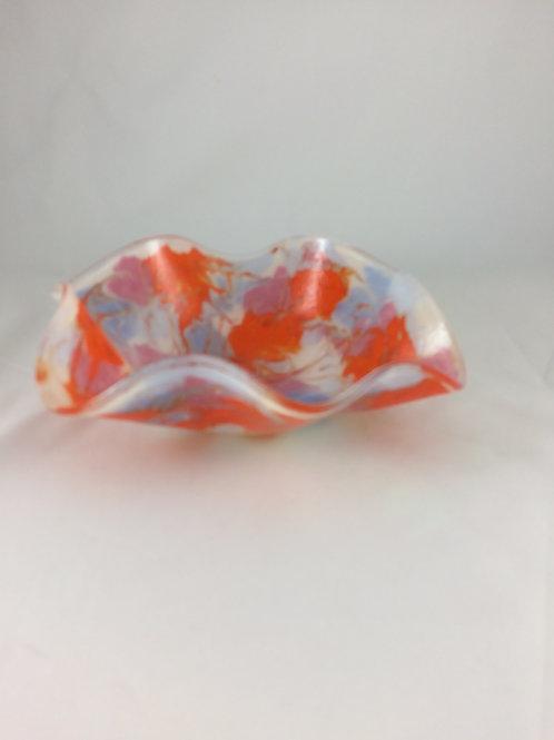 Orange, white, periwinkle, lavender watercolors wavy bowl