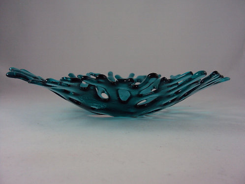 Turquoise transparent coral bowl