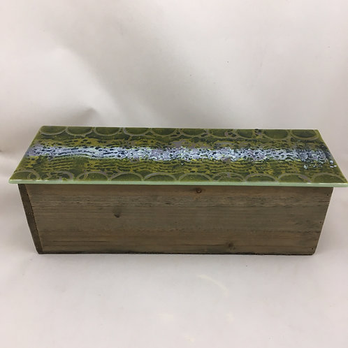 "Rectangular wooden box with ""batik"" style glass top"