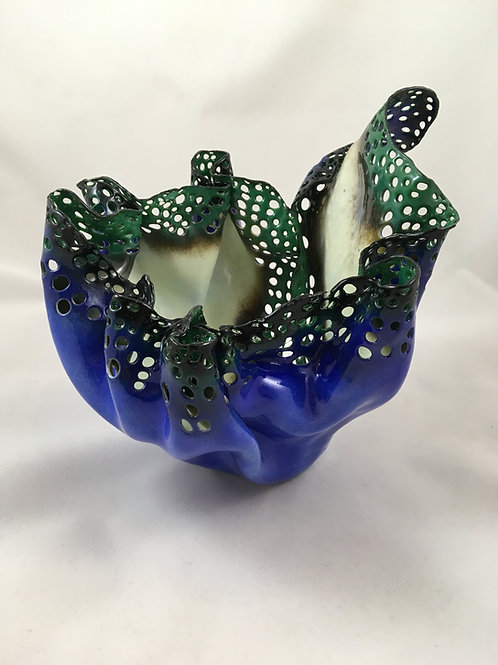 Cobalt Blue/black/green sea sponge sculpture