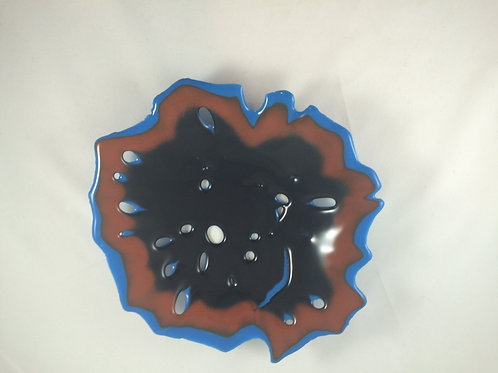 Black, blue and rust colored glass sea flower bowl/sculpture
