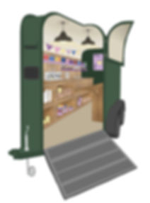 horse trailer van coffee shop illustration