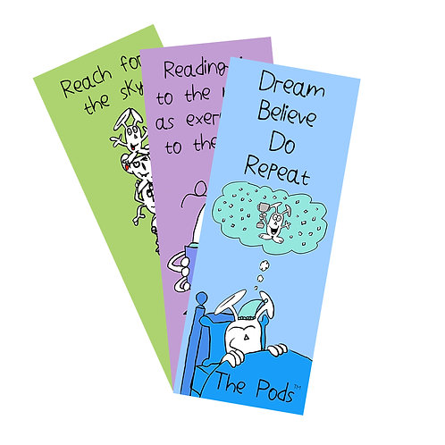 Set of three Pod bookmarks            (Dream/Reading/Reach for The Sky)