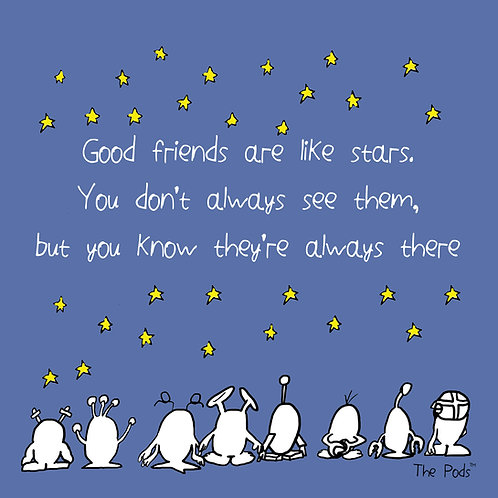 Good friends are like stars - Pod Postcard & envelope