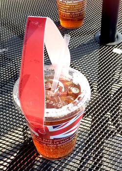 Carrying Le Pain iced tea