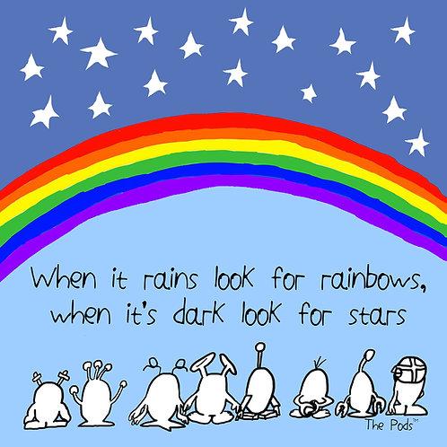 When it rains look for rainbows - Pod Postcard & envelope