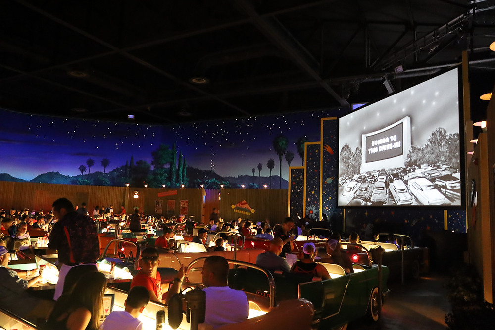 This photo is showing the dining area of the Sci-Fi Dine-in Theatre at Disney's Hollywood Studios
