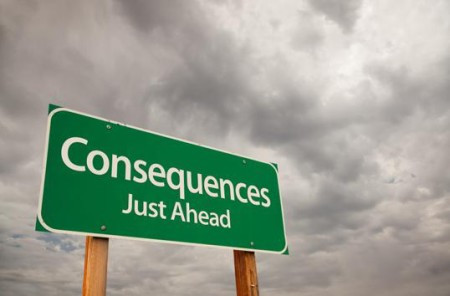 "Billboard that says, ""Consequences Just Ahead"""