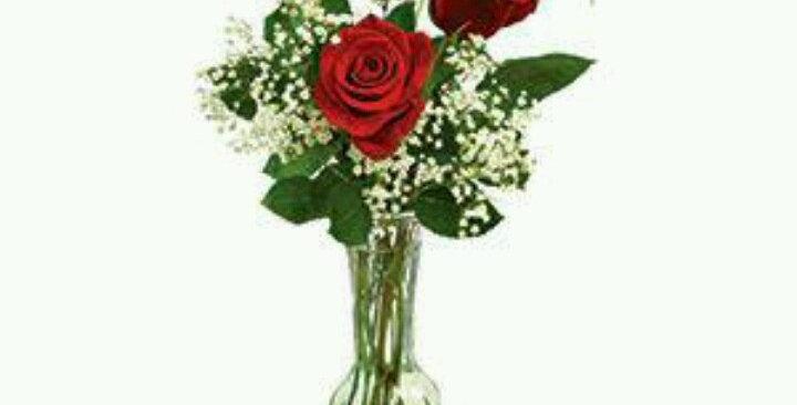 3 Roses in Vase