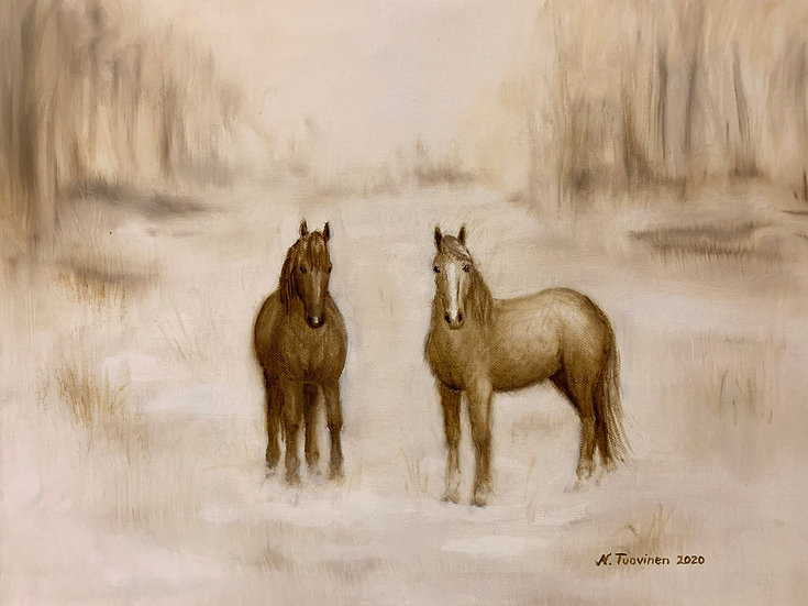 Horses in the Snow (50x40cm)