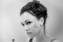 Pretty Redhead Portrait in Black and White