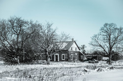 Country Farmhouse in the snow