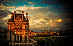 Paris Louvre at sunset