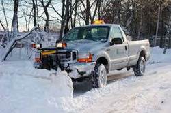 Plow truck with snow
