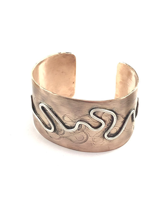 Bronze and Silver Cuff Bracelet 1