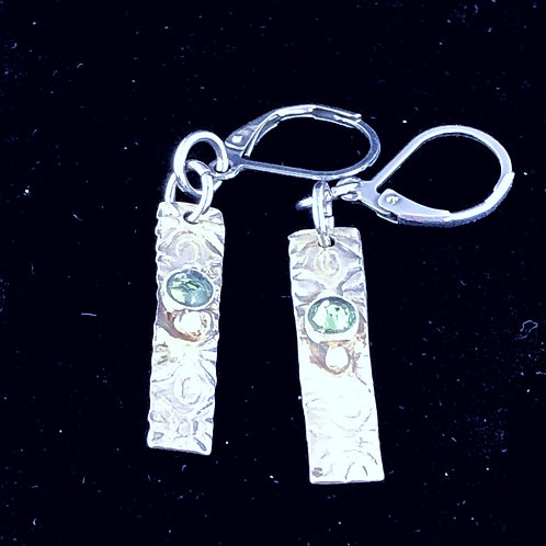 Sterling rectangular earrings with celadon green Swarovski